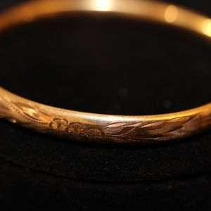 Vintage 14K Gold Filled Hinged Bangle Bracelet 6mm